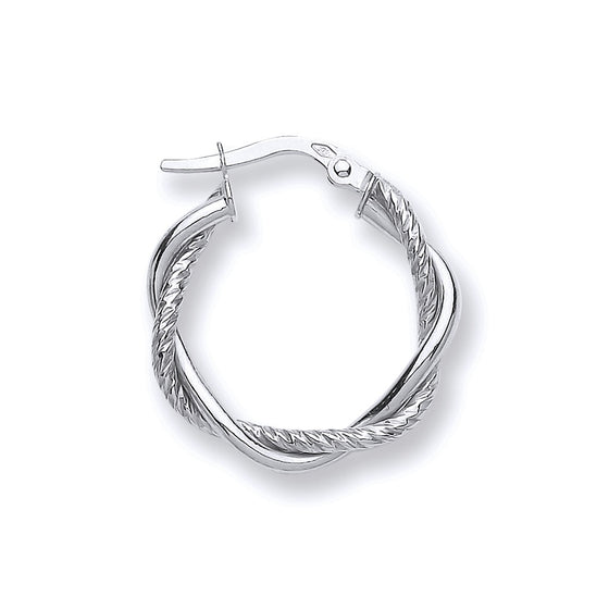 White Gold Twist Hoop TGC-ER1484