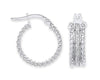 White Gold Moondust Ribbed Edge Earrings TGC-ER1528
