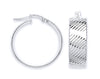 White Gold LaRose Golde Ribbed Hoop Earrings TGC-ER1538