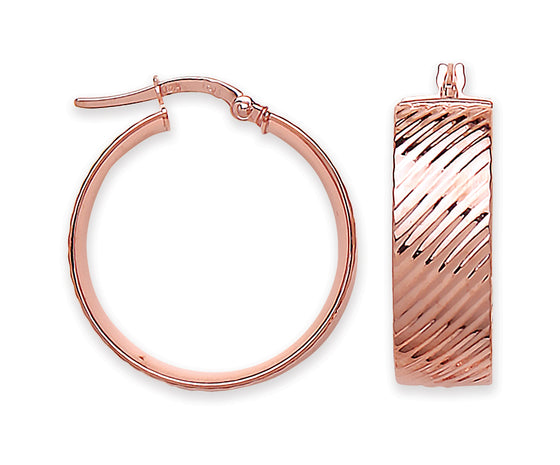 Rose Gold LaRose Golde Ribbed Hoop Earrings TGC-ER1540