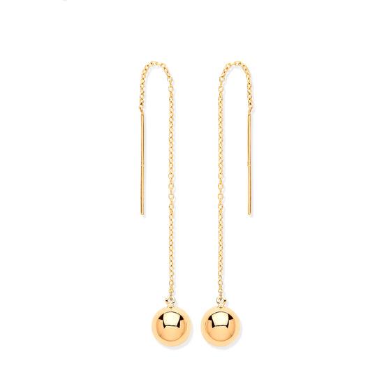 Yellow Gold Ball Chain Threader Earrings TGC-ER1569