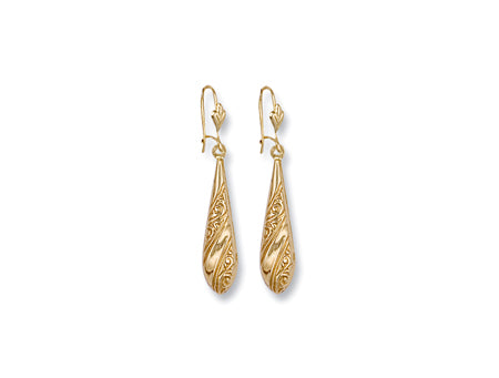 Yellow Gold Patterned Drops TGC-ER0245