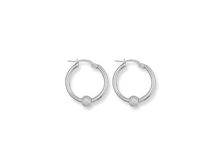 White Gold Glitter Ball Hoop Earrings TGC-ER0782