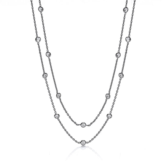 "Ruthenium Coated Rubover 23 Cz's Necklace 38"" TGC-JZCN040"