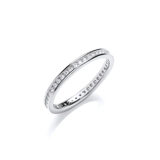 2mm Full Eternity Rd/Bril. Cz Silver Ring TGC-JZR117