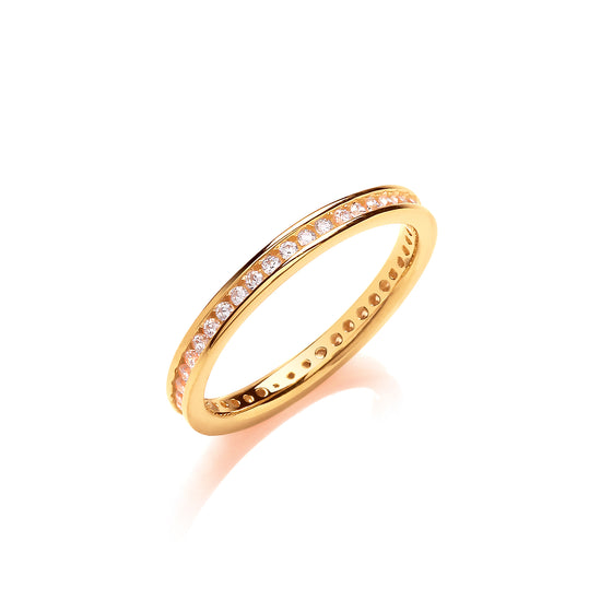 2mm Full Eternity Rd/Bril. Cz YG Plated Silver Ring TGC-JZR118