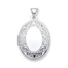 White Gold Oval Shape Locket with edge design TGC-LK0172