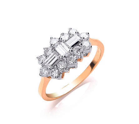 Yellow Gold Cz Boat Ring TGC-R0621