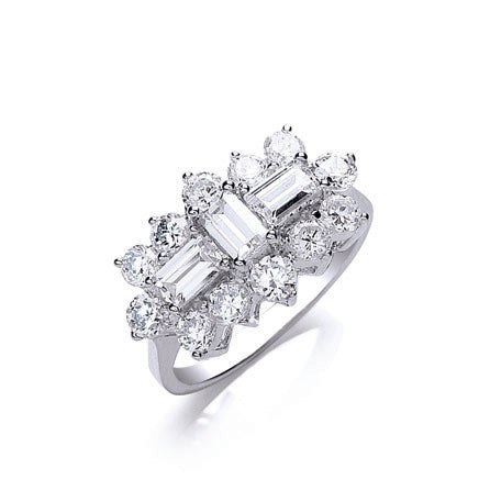 White Gold Cz Boat Ring TGC-R0622