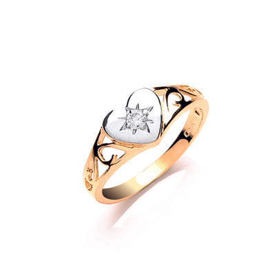 Yellow Gold Baby Cz Heart Signet Ring TGC-R0630