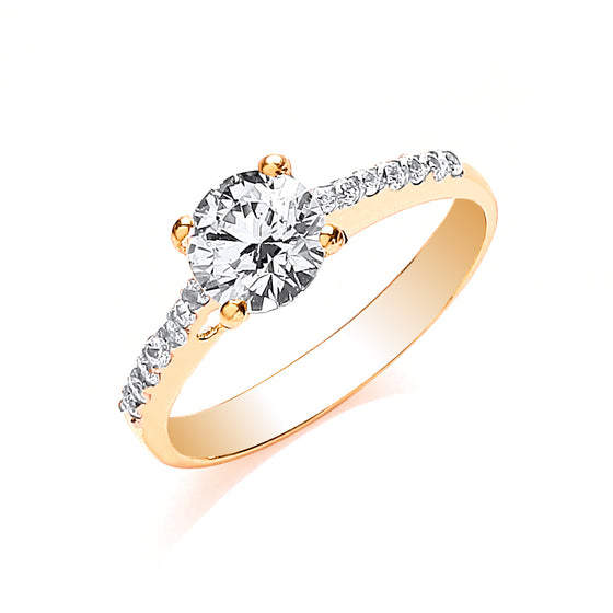 Yellow Gold Ladies Single Stone Cz Shoulder Ring TGC-R0632