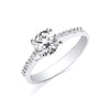 White Gold Ladies Single Stone Cz Shoulder Ring TGC-R0633