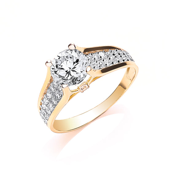 Yellow Gold Ladies Single Stone Two Row Cz Shoulder Ring TGC-R0634