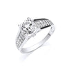 White Gold Ladies Single Stone Two Row Cz Shoulder Ring TGC-R0635