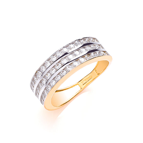 Yellow Gold Ladies Three Row Cz Ring TGC-R0636