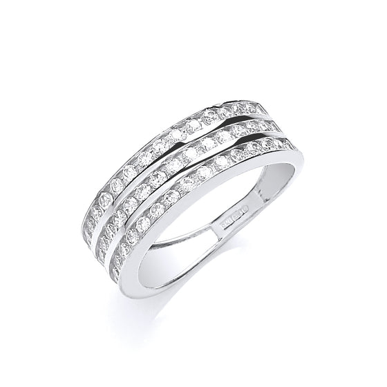 White Gold Ladies Three Row Cz Ring TGC-R0637