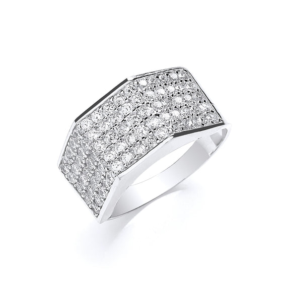 White Gold Gents Five Row Cz Ring TGC-R0639