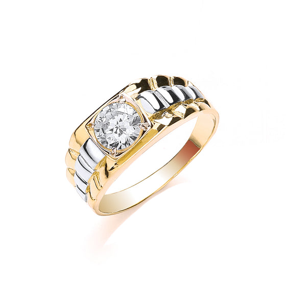 Yellow Gold Gents Square Top Cz Ring TGC-R0640