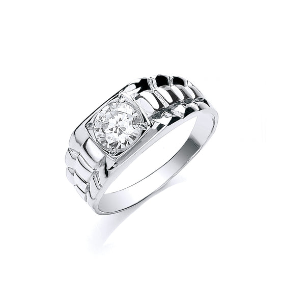 White Gold Gents Square Top Cz Ring TGC-R0641