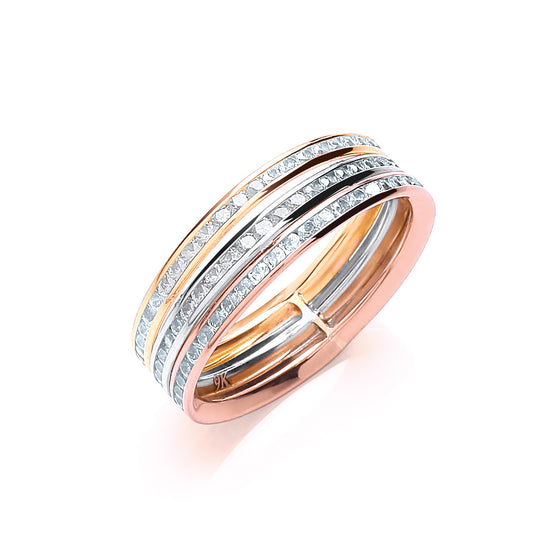 3 Colour Three Row Ladies Cz Ring TGC-R0642
