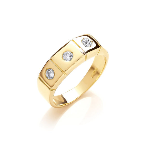 Yellow Gold 3 Stone Rub Over Setting Cz Ring TGC-R0645