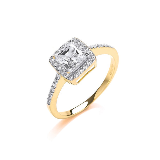 Yellow Gold Ladies Princes Centre Cz Ring TGC-R0647