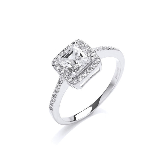 White Gold Ladies Princes Centre Cz Ring TGC-R0648