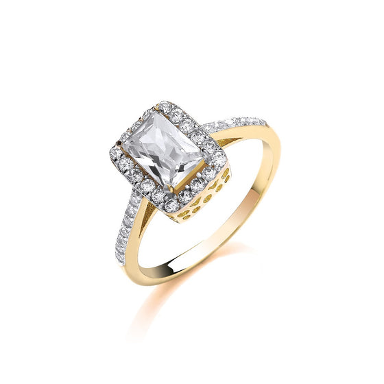 Yellow Gold Ladies Emerald Centre Cz Ring TGC-R0649