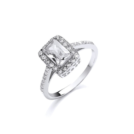 White Gold Ladies Emerald Centre Cz Ring TGC-R0650