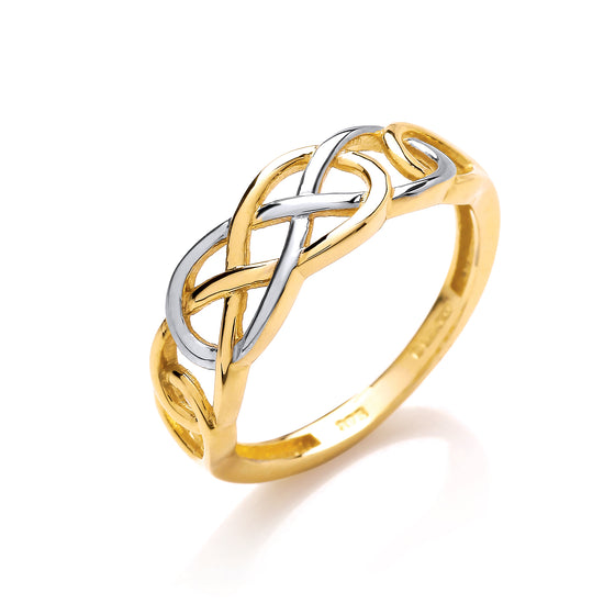 2 Colour Yellow & White Gold Celtic Ring TGC-R0651