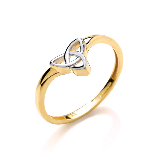 2 Colour Yellow & White Gold Wishbone Style Celtic Ring TGC-R0652