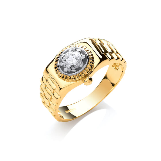 Yellow Gold Gents Cz Ring TGC-R0653