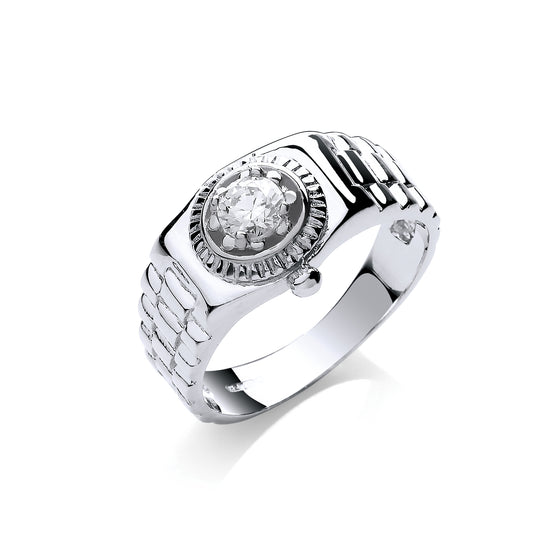 White Gold Gents Cz Ring TGC-R0654