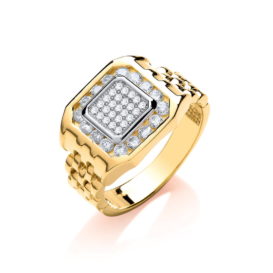 Yellow Gold Panther Link & Cz's Gents Ring TGC-R0655