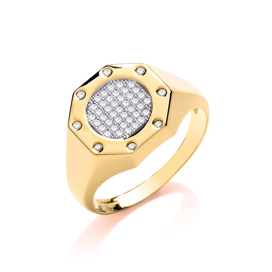 Yellow Gold Octagon Top Fashion Cz Gents Ring TGC-R0656