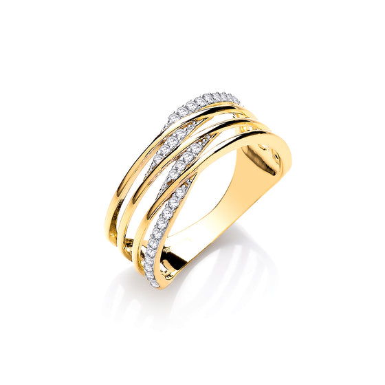 Yellow Gold Stripes & Cz's Ladies Ring TGC-R0657