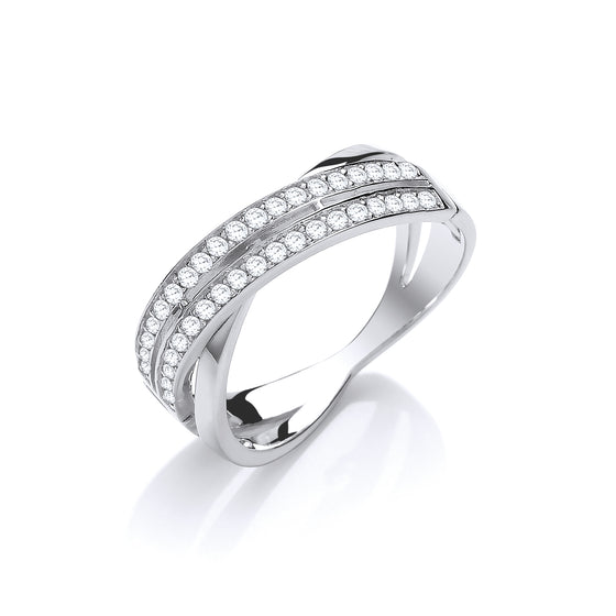 White Gold Crossover with Cz's Ladies Ring TGC-R0658