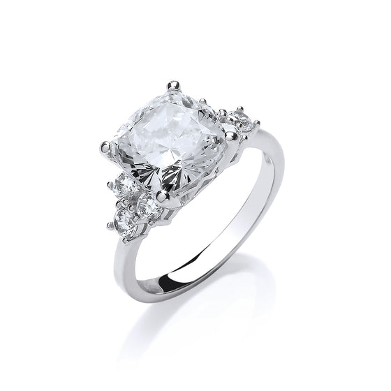 White Gold Cushion Cut High Setting Fancy Solitaire Cz Ring TGC-R0659