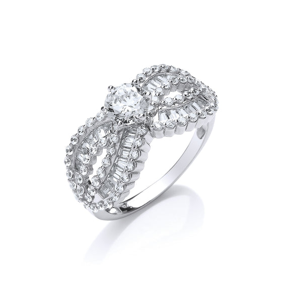 White Gold Crossover Baguettes & Round Cz's Ladies Ring TGC-R0660