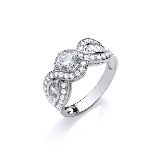 White Gold Round, Baguette & Triangle Cz's Crossover Fancy Ring TGC-R0661