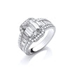 White Gold Baguette Fancy Solitaire with Round Cz's Ring TGC-R0662