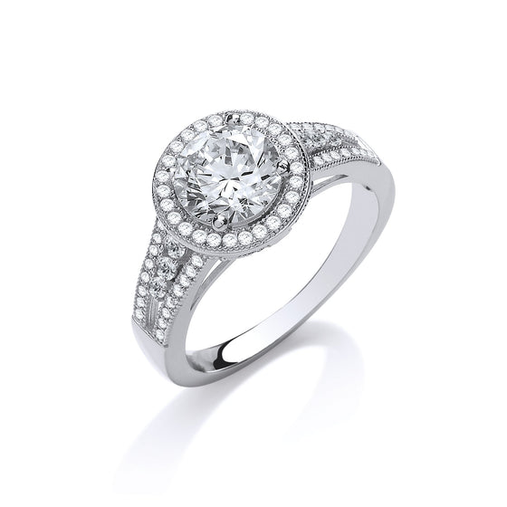 White Gold Halo Style Round Cz with Split Shank Ladies Ring TGC-R0664