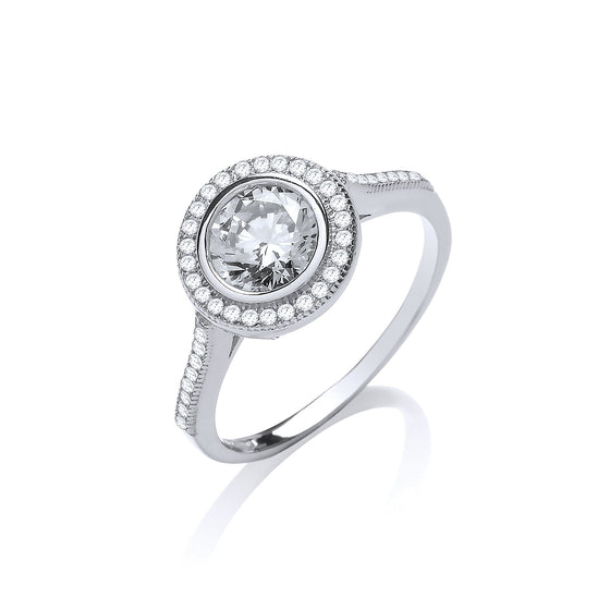 White Gold Halo Style Solitaire Cz Ladies Ring TGC-R0665