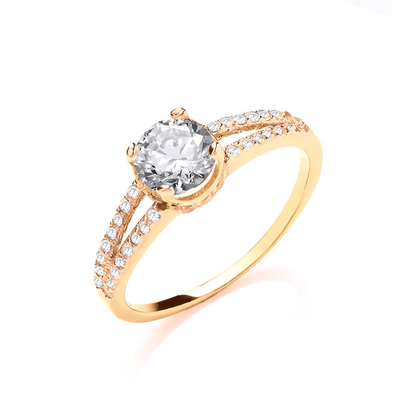 Yellow Gold Split Shank Cz Engagement Ring TGC-R0666