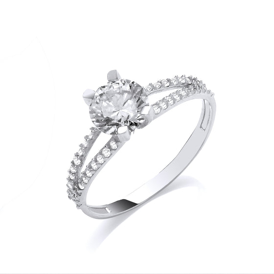 White Gold Split Shank Cz Engagement Ring TGC-R0667