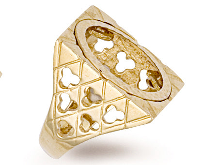 Yellow Gold Half Square Top Sovereign Ring TGC-R0010H