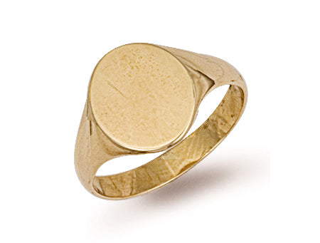 Yellow Gold Oval Plain Top Signet Ring TGC-R0117