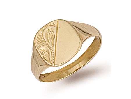 Yellow Gold Cushion Engraved Signet Ring TGC-R0120