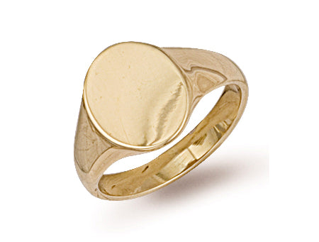 Yellow Gold Oval Plain Signet Ring TGC-R0121