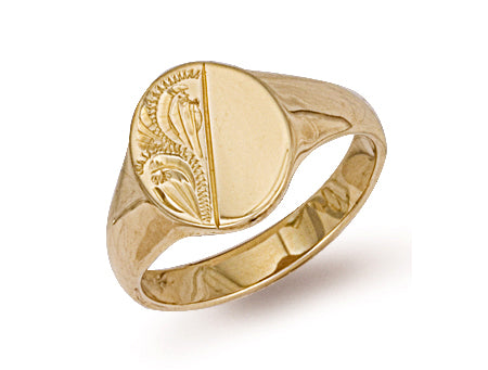 Yellow Gold Oval Engraved Signet Ring TGC-R0122